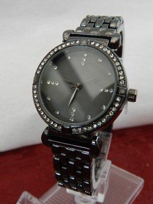 Heine Damenuhr Armbanduhr mit Steinchen, Kristallen - Schwarz