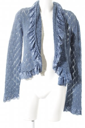 Heine Coarse Knitted Jacket steel blue loosely knitted pattern casual look