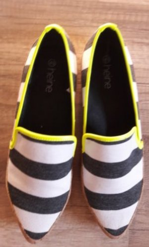 Heine Loafer Streifen Neon Gelb Mokassins Slipper Slipons 40