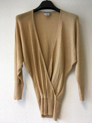 HEINE Pullover Wickeloptik, goldfarben, Gr. 40/42