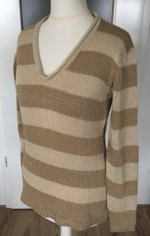 Heine Pullover XS 34 Streifenpulli Winter Pulli Sweater Beige Gold Nude Strickpullover