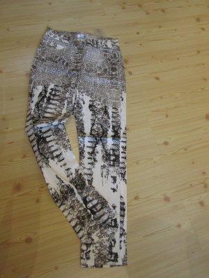 HEINE: Schmale Printhose, weiß-braun, Gr. 36 K(18), NEU