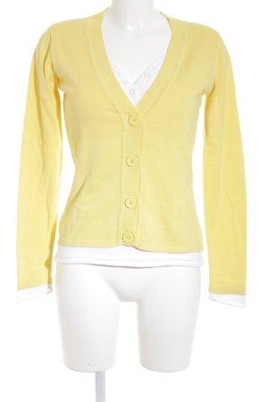 Heine V-Ausschnitt-Pullover weiß-gelb Casual-Look