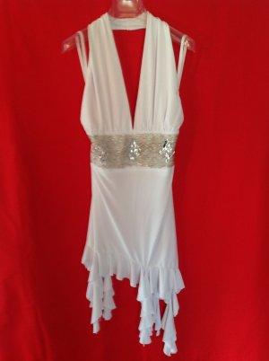 Vestido de cuello Halter blanco tejido mezclado