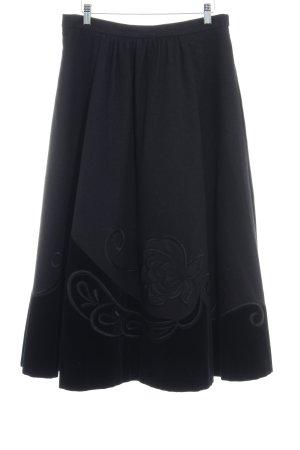 Helene Straßer Wool Skirt black floral pattern material mix look
