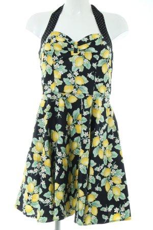 Hell Bunny Bustier Dress black-primrose allover print elegant