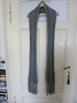Crochet Scarf light grey-grey