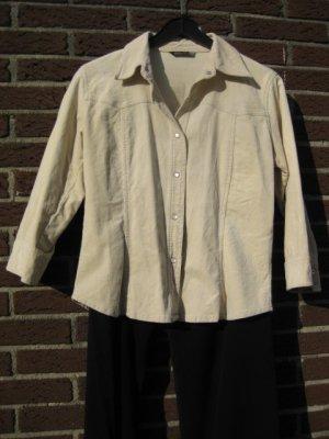 hellbeige Blusenjacke aus Feincord mit Permuttknöpfen Größe L