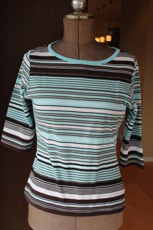 hellblau / braun / weiß gestreifte Shirt mit 3/4 Arm von StreetOne