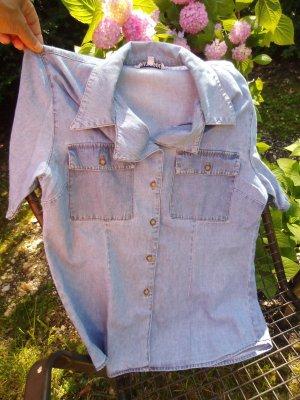 Denim Blouse steel blue-cornflower blue cotton