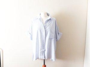 hellblau weiß gestreifte H&M Trend Vokuhila Bluse Gr. 40 M