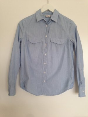 Hellblau-weiß gestreifte Hemd-Bluse mit kleinen dunkelblauen Punkten (Gr. S)