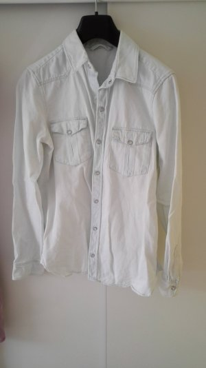 Zara Chemise en jean blanc-bleu clair