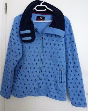 Hellblaue Baumwoll(Sweat)-jacke von Becool mit Klettverschlußkragen mit Ankermotiven