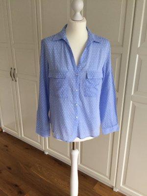 Hellblaue Bluse von Zara mit weißen Punkten M