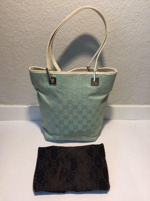 Gucci Handtas babyblauw-wit