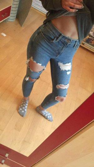 Hellblaue Jamie Jeans mit Löcher von Topshop