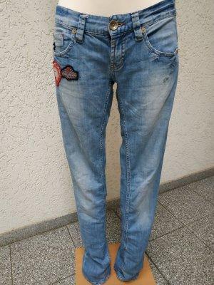 Hellblaue Jeans mit Patches von Freeman T. Porter, Gr 28