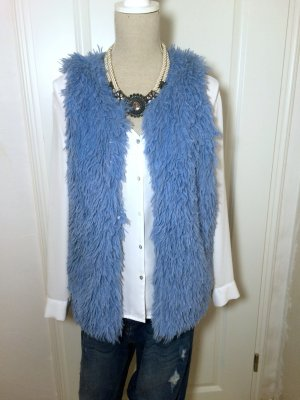 Fur vest steel blue