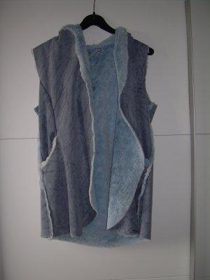 hellblaue Kunstleder-Weste mit blauem Kunstfell One Size Wildleder