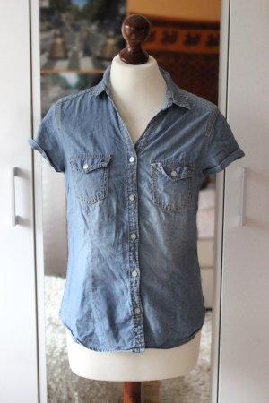 Hellblaue kurzärmlige Bluse Denim H&M 36 38 S