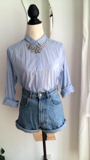 hellblaue Oversize Bluse