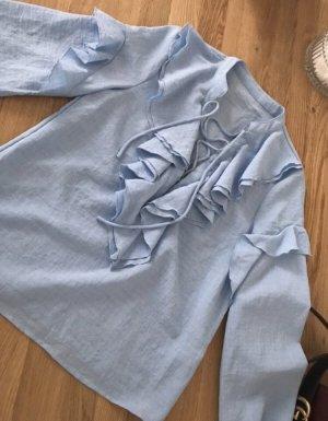 Blouse à volants bleu azur