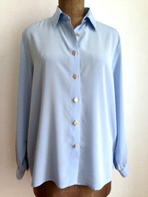 Hellblaue Vintage Bluse mit goldenen Knöpfen von Delmod, Gr. 42