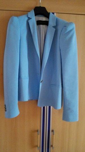 Hellblauer Babyblauer Blazer mit ausgestellten Schultern Größe 38 M