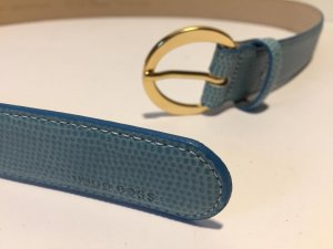 Hugo Boss Leather Belt gold-colored-cornflower blue leather