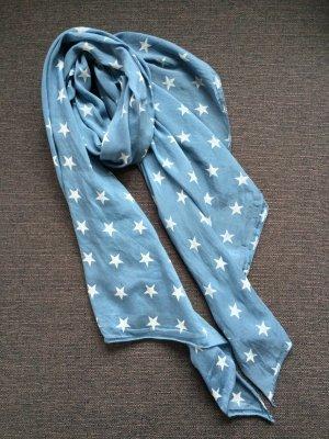 Écharpe en soie blanc-bleu azur soie