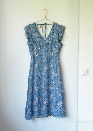 Hellblaues Blumenkleid von C&A Yessica Dresses Midi Knielang 36 38 S M