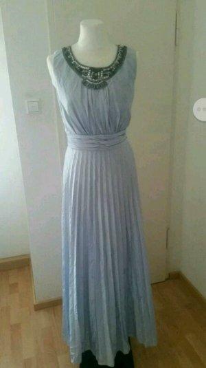 Hellblaues bodenlanges Satin Abendkleid von Ariella London