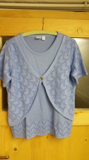 Top en maille crochet bleu clair