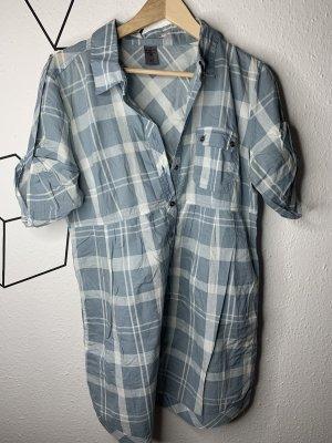 Camisa de manga larga blanco-azul celeste
