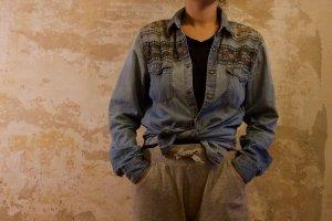 Topshop Denim Shirt azure cotton