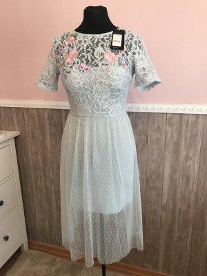 Hellblaues Kleid 34 XS New Look Spitzenkleid Midikleid