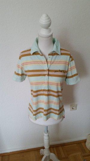 Hellblaues Poloshirt von Miss Sixty mit Streifen. Print hinten.