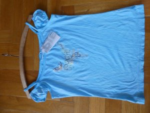 Carmen Shirt turquoise-light blue cotton