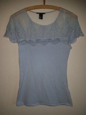Hellblaues Spitzen Damenshirt in S
