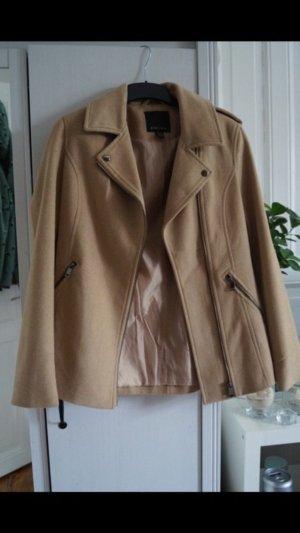 Hellbraune/Beiger Mantel mit schrägem Reißverschluss