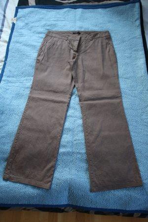 Zero Pantalón de lino marrón claro