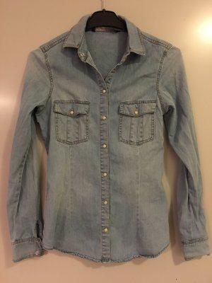 Hellbraune Jeansbluse von Zara