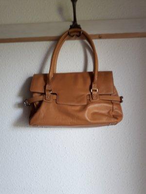 Shoulder Bag beige-camel leather