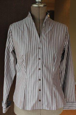 hellbraune schicke Bluse mit weißen Streifen - wie neu
