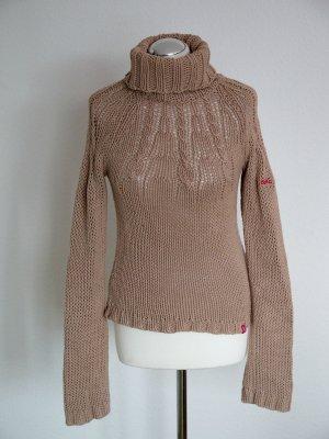 hellbrauner Pullover von edc by Esprit mit Logostickerei