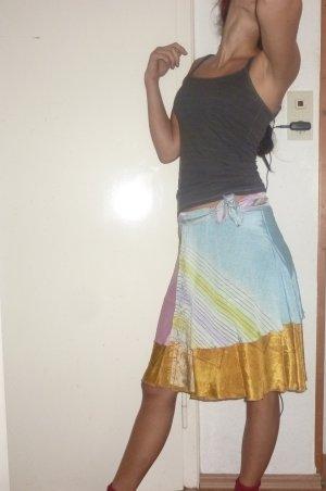 Jupe portefeuille multicolore soie