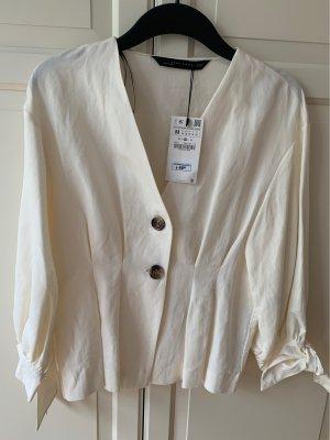 Zara Woman Blouse en lin crème-beige clair lin