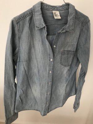 H&M Denim Blouse slate-gray-pale blue