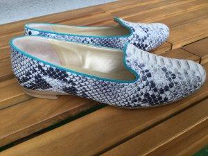 Helle Leder Slipper für Sommer Peter Kaiser 37,5 Super Zustand Silber Weiß Grau mit Muster Reptiloptik Ballerina